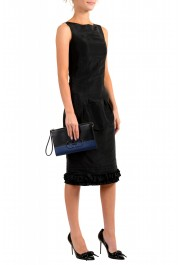 Salvatore Ferragamo Women's Black & Blue 100% Leather Wristlet Clutch Bag: Picture 4