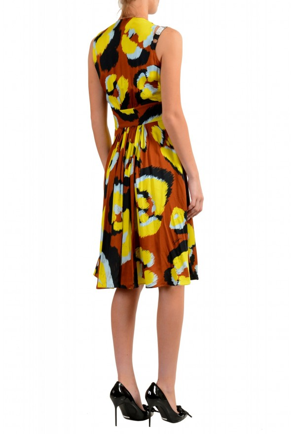 Just Cavalli Women's Multi-Color V-Neck Belted Fit & Flare Dress: Picture 3