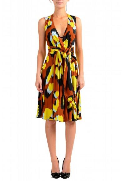 Just Cavalli Women's Multi-Color V-Neck Belted Fit & Flare Dress