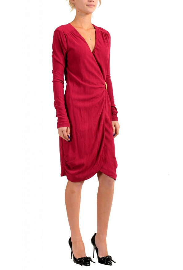 Just Cavalli Women's Deep Red V-Neck Long Sleeves Shift Dress : Picture 2