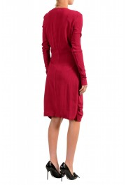 Just Cavalli Women's Deep Red V-Neck Long Sleeves Shift Dress : Picture 3