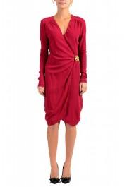 Just Cavalli Women's Deep Red V-Neck Long Sleeves Shift Dress