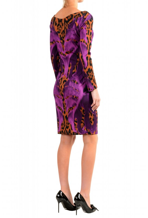 Just Cavalli Women's Multi-Color Boatneck Long Sleeve Bodycon Dress: Picture 3