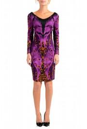 Just Cavalli Women's Multi-Color Boatneck Long Sleeve Bodycon Dress
