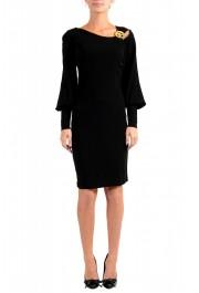 Just Cavalli Women's Black Long Sleeve Shift Dress