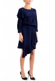 Just Cavalli Women's Blue Asymmetrical Long Sleeve Dress: Picture 2