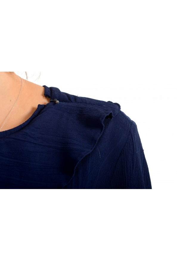 Just Cavalli Women's Blue Asymmetrical Long Sleeve Dress: Picture 4
