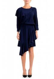 Just Cavalli Women's Blue Asymmetrical Long Sleeve Dress