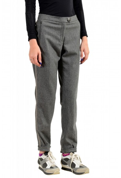 Moncler Women's Gray 100% Wool Casual Pants: Picture 2