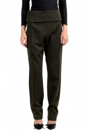 Maison Margiela Women's Green 100% Wool High Waisted Casual Pants