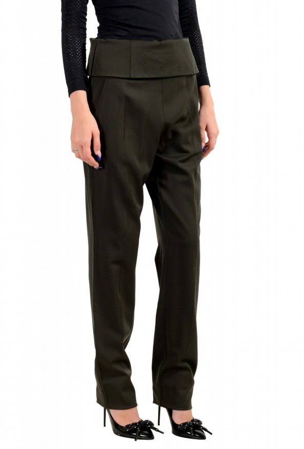 Maison Margiela Women's Green 100% Wool High Waisted Casual Pants: Picture 2