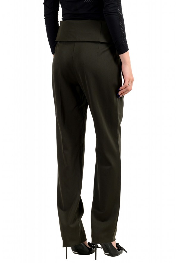 Maison Margiela Women's Green 100% Wool High Waisted Casual Pants: Picture 3