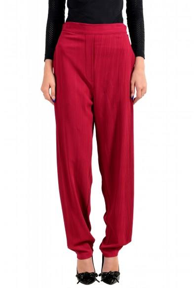 Just Cavalli Women's Bright Red Elastic Waist Casual Pants