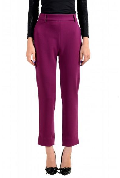 Just Cavalli Women's Purple Flat Front Casual Pants