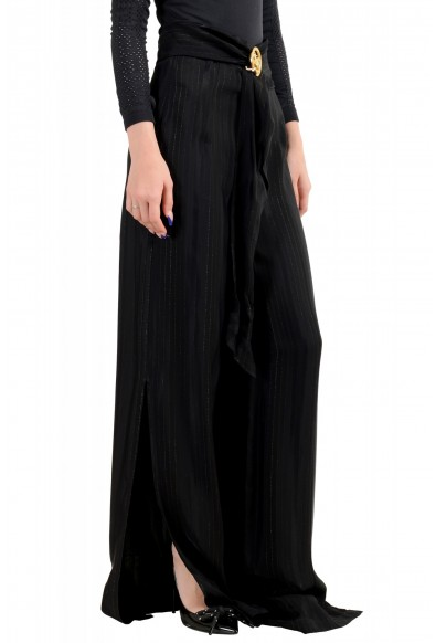 Just Cavalli Women's Black Striped Belted High Waisted Pants : Picture 2