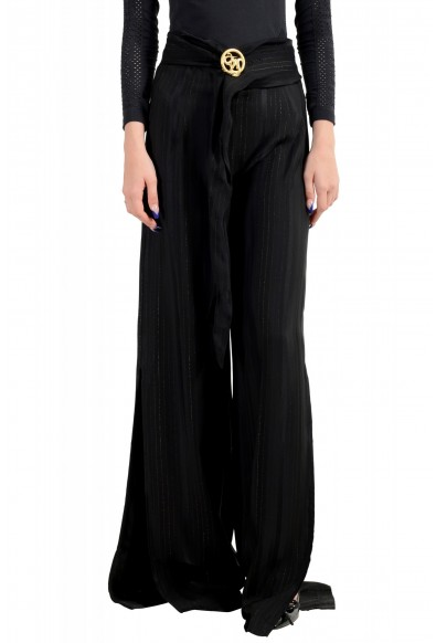 Just Cavalli Women's Black Striped Belted High Waisted Pants