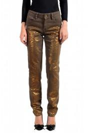 Just Cavalli Women's Gray Painted Skinny Leg Jeans
