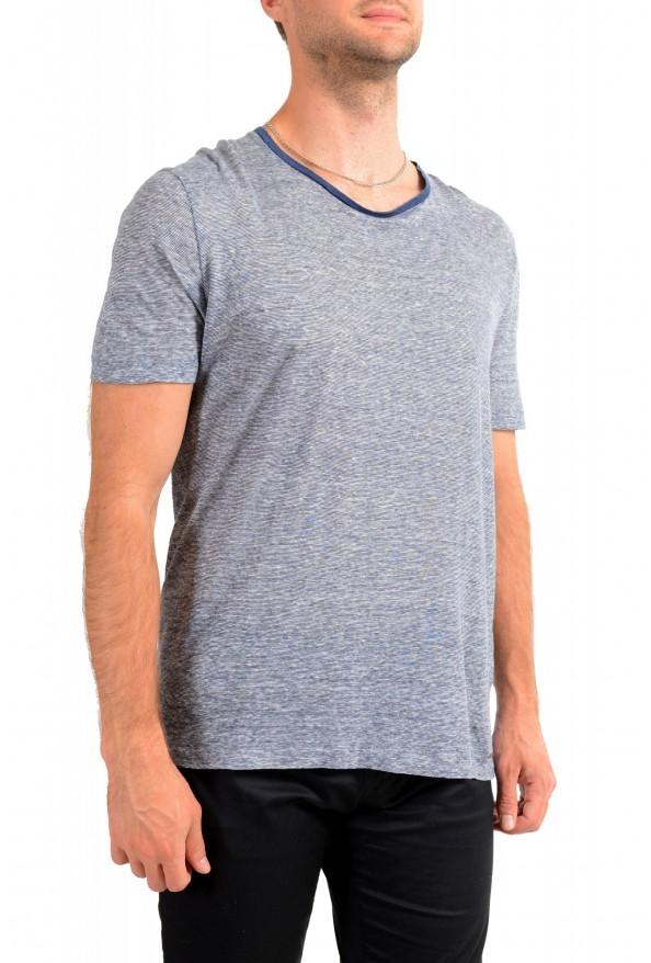 "Hugo Boss Men's ""T-Tesar20"" Regular Fit Blue 100% Linen Crewneck T-Shirt: Picture 2"