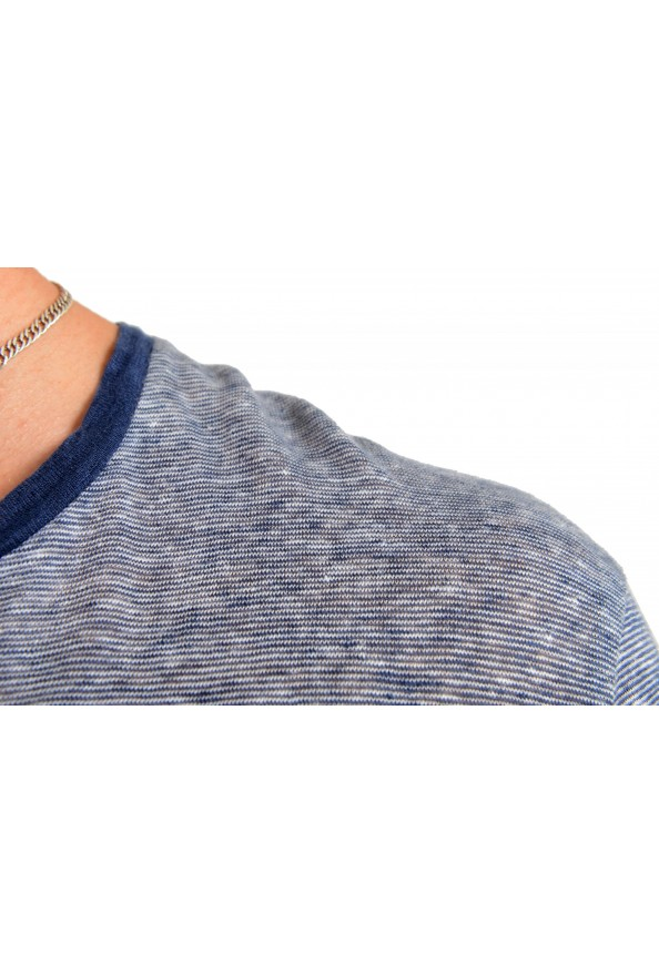 "Hugo Boss Men's ""T-Tesar20"" Regular Fit Blue 100% Linen Crewneck T-Shirt: Picture 4"