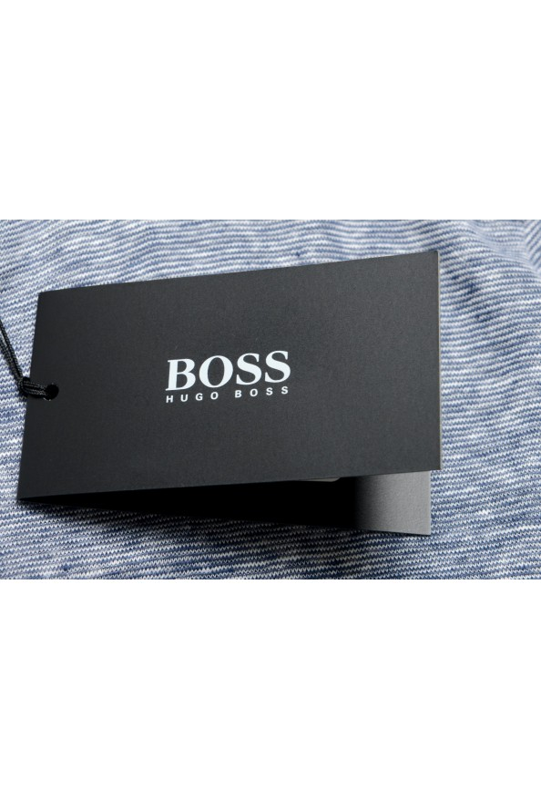 "Hugo Boss Men's ""T-Tesar20"" Regular Fit Blue 100% Linen Crewneck T-Shirt: Picture 6"