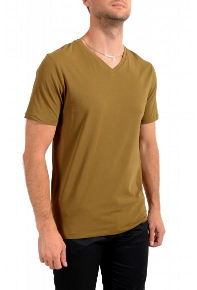"""Hugo Boss Men's """"Dandre"""" Olive Green V-Neck Stretch T-Shirt: Picture 2"""
