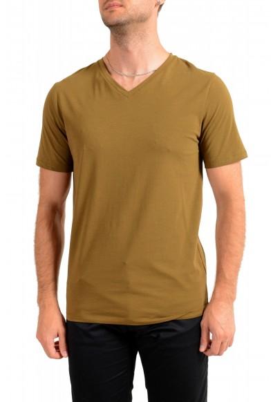 """Hugo Boss Men's """"Dandre"""" Olive Green V-Neck Stretch T-Shirt"""