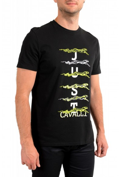 Just Cavalli Men's Black Embroidered Crewneck T-Shirt : Picture 2