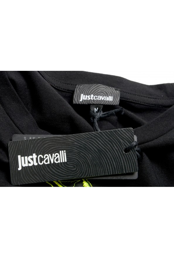Just Cavalli Men's Black Embroidered Crewneck T-Shirt : Picture 7