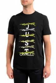 Just Cavalli Men's Black Embroidered Crewneck T-Shirt