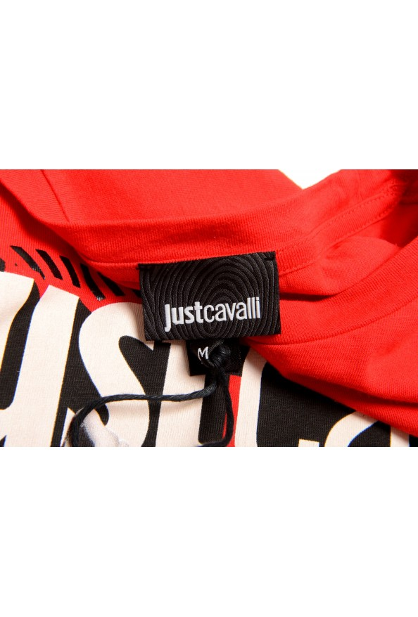 Just Cavalli Men's Red Graphic Crewneck T-Shirt: Picture 5