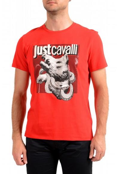 Just Cavalli Men's Red Graphic Crewneck T-Shirt