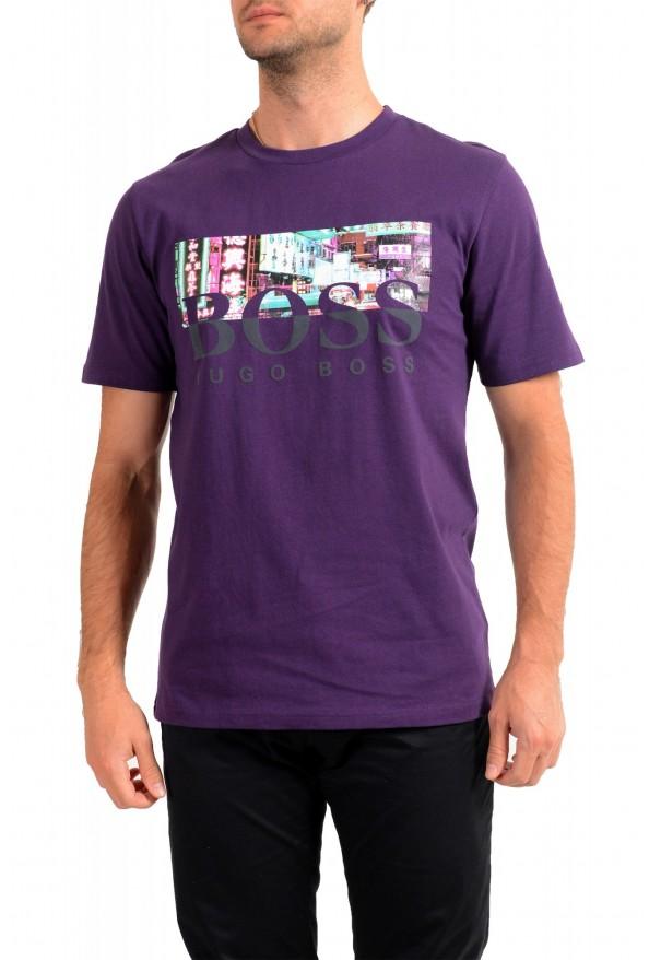 "Hugo Boss Men's ""Trek 4"" Purple Graphic Print Crewneck T-Shirt"