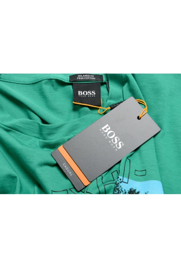 "Hugo Boss Men's ""Tomback"" Green Graphic Print Crewneck T-Shirt: Picture 7"