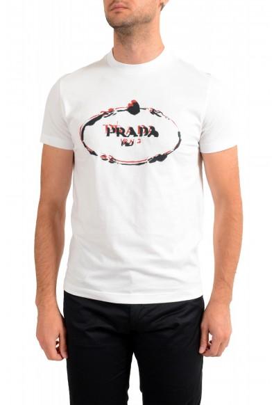 Prada Men's UJN555 White Logo Print Embroidered T-Shirt