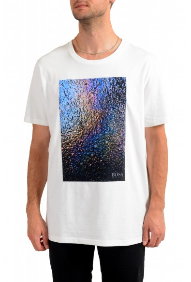 """Hugo Boss Men's """"Teyne"""" White Graphic Print Casual T-Shirt"""