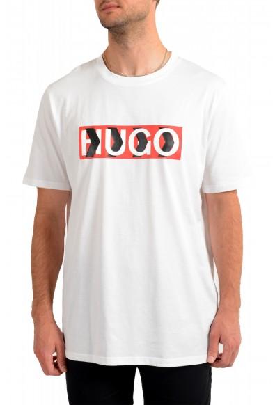 "Hugo Boss Men's ""Dicagolino_LP1"" White Logo Print Crewneck T-Shirt"