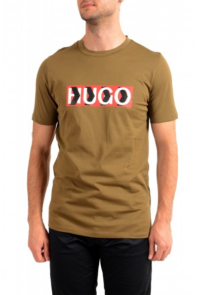 "Hugo Boss Men's ""Dicagolino_LP1"" Olive Logo Print Crewneck T-Shirt"