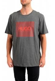 "Hugo Boss Men's ""Dolive201"" Gray Logo Print Crewneck T-Shirt"