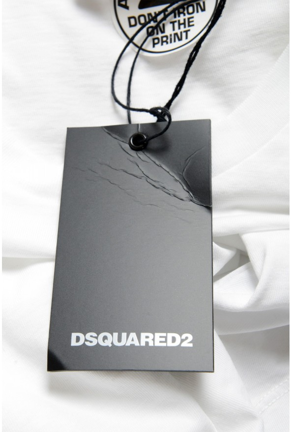 Dsquared2 Men's White Logo Print Crewneck T-Shirt : Picture 4
