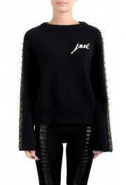 Just Cavalli Women's Black Wool Mohair Crewneck Sweater