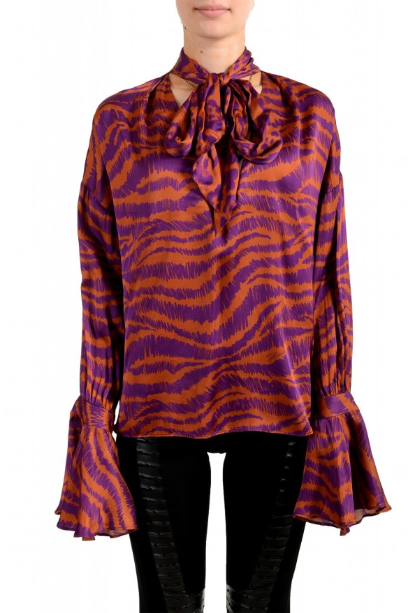 Just Cavalli Women's Multi-Color V-Neck Blouse Top