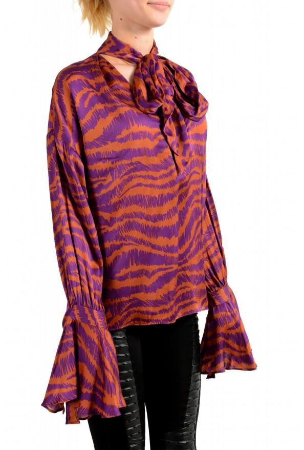 Just Cavalli Women's Multi-Color V-Neck Blouse Top: Picture 2