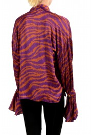 Just Cavalli Women's Multi-Color V-Neck Blouse Top: Picture 3