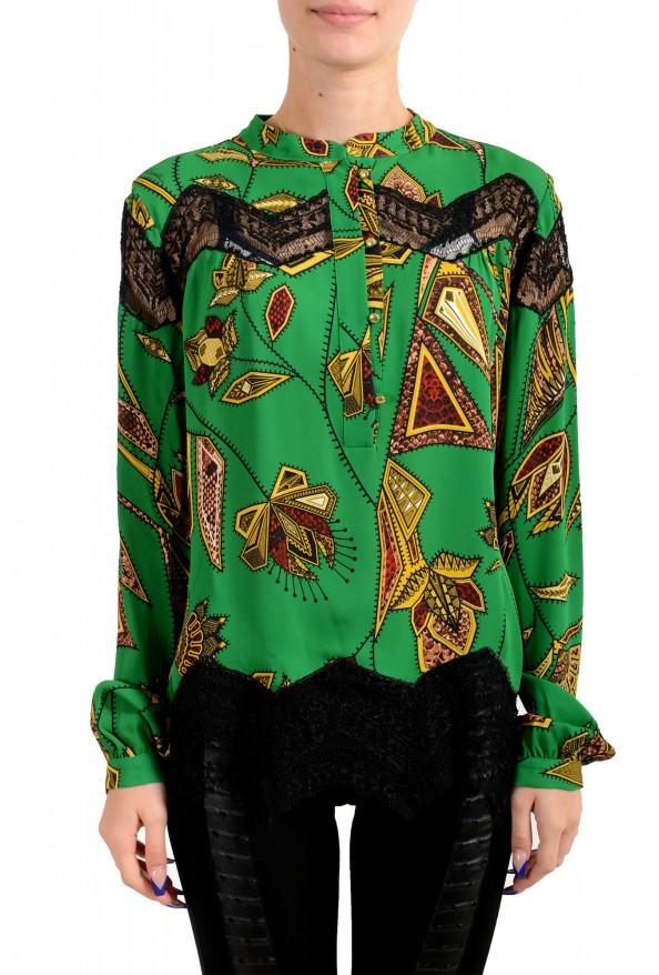 Just Cavalli Women's Multi-Color Lace Trimmed Blouse Top