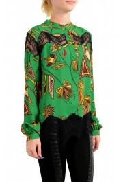 Just Cavalli Women's Multi-Color Lace Trimmed Blouse Top: Picture 2