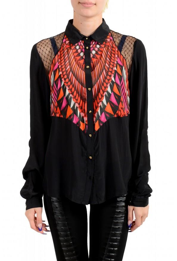 Just Cavalli Women's Multi-Color Button Down Shirt Blouse Top