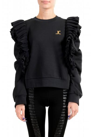Just Cavalli Women's Black Logo Crewneck Ruffled Sweatshirt