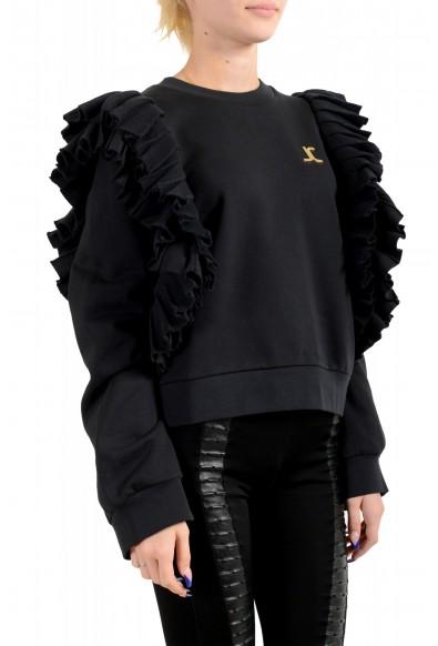 Just Cavalli Women's Black Logo Crewneck Ruffled Sweatshirt : Picture 2