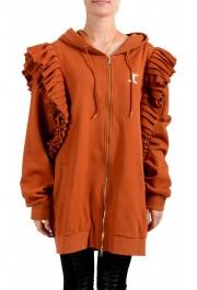 Just Cavalli Women's Brown Logo Hooded Full Zip Ruffled Sweatshirt
