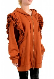 Just Cavalli Women's Brown Logo Hooded Full Zip Ruffled Sweatshirt : Picture 2